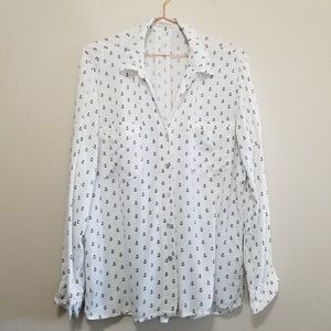 Just living anchor print casual dress shirt blouse